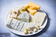 Cheese Platter, different sorts of cheese on plate - MAEF12467