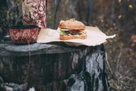 Burger and mug with tea on stamp - VPIF00292