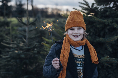 Boy holding sparkler in front of fir trees - MJF02224