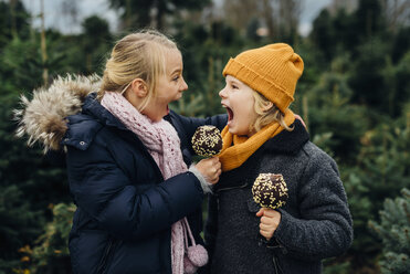 Brother and sister screaming at each other, holding chocolate dipped apples - MJF02245