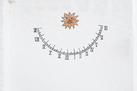 Spain, Menorca, Binibequer Vell, white traditional small village, sundial clock painted - IGGF00274