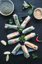 Vietnamese spring roll with vegetables, roasted peanuts and herbs, sauce - IPF00432