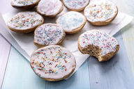 Vegan sweet pastry with sugar icing and coloured sugar beads and granules - IPF00434