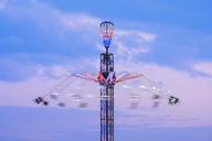 Germany, Bavaria, Munich, View of Oktoberfest fair, Jule Verne Tower - SIEF07655