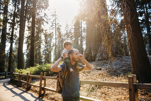USA, California, Father and baby visiting Sequoia National Park - GEMF01821