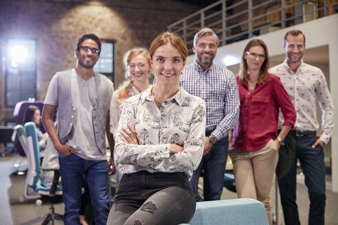 Group portrait of a team of colleagues working for a start up company - WESTF23905