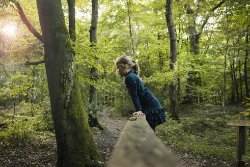 Girl playing in forest - MOEF00569
