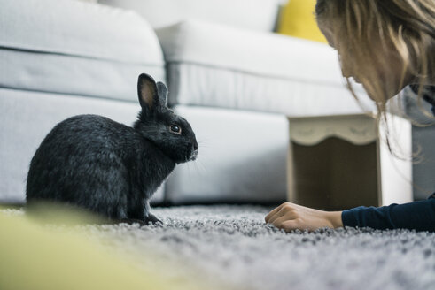 Girl with hare in living room - MOEF00578