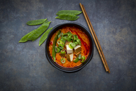 Bowl of red Thai Curry with snow peas, carrots, bell pepper, spring onions and smoked tofu - LVF06530
