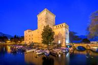 Italy, Lombardy, Lake Garda, Riva del Garda, Rocca di Riva, blue hour - PUF01006