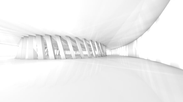 Empty white hall in a modern building, 3D Rendering - SPCF00269
