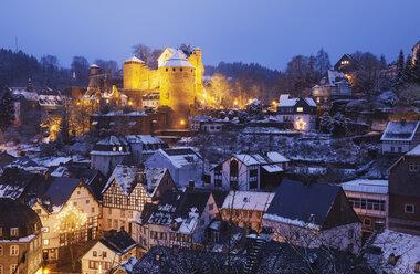 Germany, North Rhine-Westafalia, Monschau, Monschau Castle in winter - GWF05369