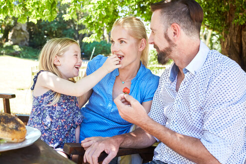 Girl feeding mother with stawberries with father watching - SRYF00616