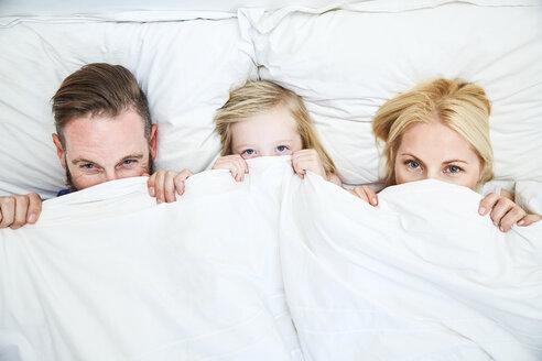 Portrait of family lying in bed hiding under blanket - SRYF00694