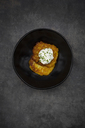 Potato fritters with herbed curd cheese in bowl - LVF06560