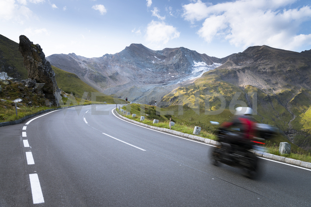 Austria, Salzburg State, biker on Grossglockner High Alpine Road - STCF00365