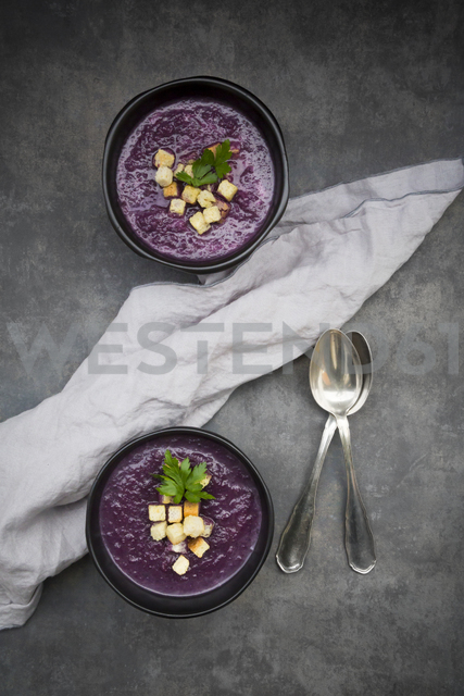 Bowl of red cabbage soup garnished with croutons - LVF06569