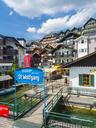 Austria, Salzkammergut, Salzburg State, Lake Wolfgangsee, St. Wolfgang, jetty and sign - AM05580