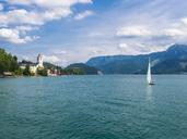 Austria, Salzkammergut, Salzburg State, Lake Wolfgangsee, St. Wolfgang, Sailing boat - AMF05583