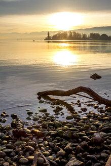 Switzerland, Thurgau, Lake Constance, Romanshorn in winter at sunset - PUF01037