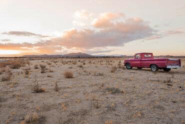 USA, California, Joshua Tree,  Pick-Up truck in the desert of Joshua Tree - WVF00855