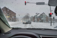 Car standing on crossroad in winter - FRF00621