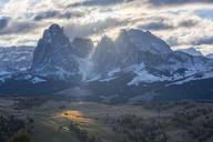 Italy, South Tyrol, Seiser Alm, Langkofel and Plattkofel at sunrise - LOMF00679
