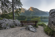 Germany, Bavaria, Berchtesgaden Alps, Lake Hintersee, bench in the morning - RPSF00070