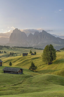 Italy, South Tyrol, Seiser Alm, barns in the morning - RPSF00085