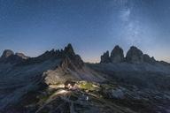Italy, Sexten Dolomites, Tre Cime di Lavaredo, Nature Park Tre Cime, Rifugio Antonio Locatelli at night - RPS00094