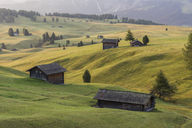 Italy, South Tyrol, Seiser Alm, barns in the morning - RPSF00109