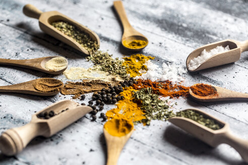 Spicies, curry, chilli, cinnamon, curcuma, garlic, parsley, oregano, salt and pepper on wooden spoons - SARF03466