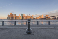 USA, New York City, Manhattan, Brooklyn, cityscape with coin operated binoculars - RPSF00163