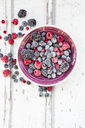 Bowl of deep frozen red currents, rapsberries and blackberries - LVF06595