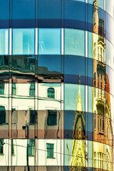 Czech Republic, Prague, historical buildings reflecting in modern facade - CSTF01592