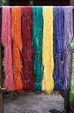 Thailand, Bangkok, colorful silk fiber hanging outside - IGGF00372