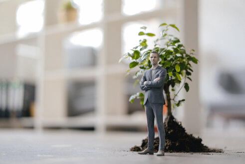 Businessman figurine standing next to a little tree - FLAF00034