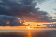 Reunion, West Coast, Saint-Leu, Sunset over sea - FOF09683
