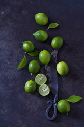 Sliced and whole limequats, leaves and old knife on dark ground - CSF28693