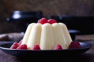 Custard with raspberries on plate - CSF28729