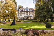 Switzerland, Gstaad, view oto Grand Hotel Bellevue in autumn - WD04294