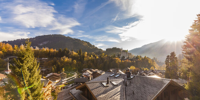 Switzerland, Canton of Bern, Gstaad, townscape with Gstaad Palace Hotel - WDF04295