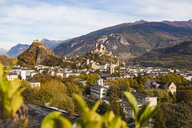 Switzerland, Canton Vaud, Sion, townscape with Tourbillon Castle, Notre-Dame de Valere and Notre Dame du Glarier - WDF04307