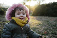 Portrait of happy toddler in winter by sunset - GEMF01842