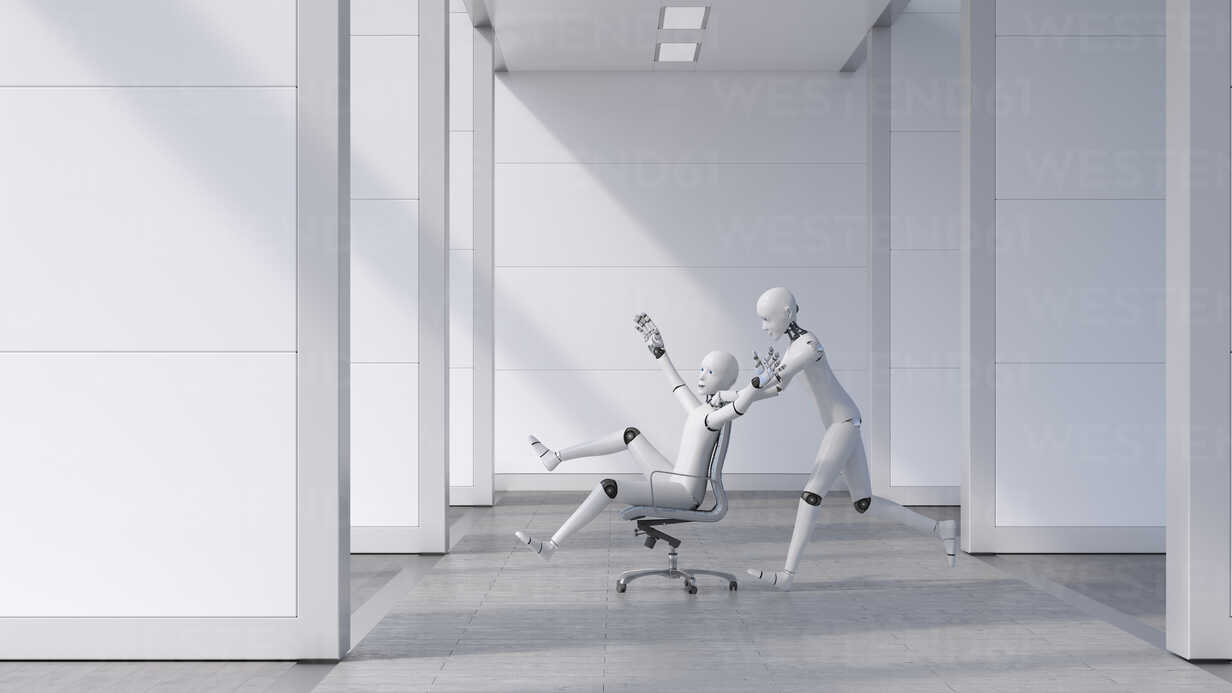 Robot pushing a cheering friend on a chair through the office - AHUF00460 - Anna Huber/Westend61