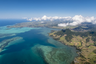 Mauritius, Indian Ocean, Aerial view of East Coast, Mahebourg and Island Ile Aux Aigrettes - FOF09687