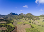 Mauritius, Highlands, sugarcane fields with Mountain Pieter Both left - FOF09693