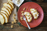 Bruschetta and various ingredients, ricotta cheese, nuts, olive oil, bread - GIOF03773
