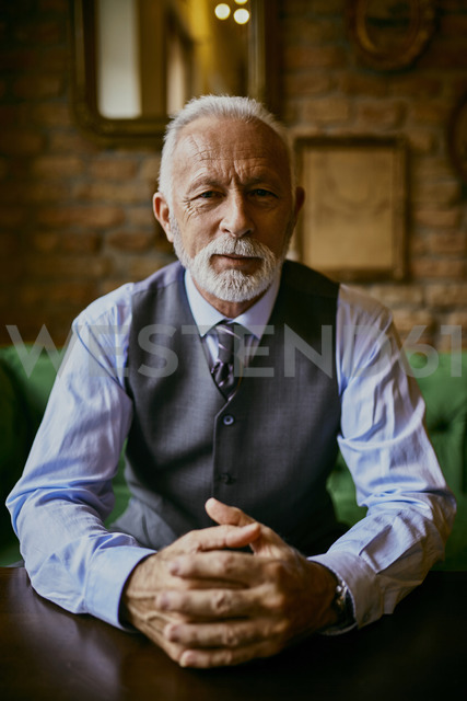 Portrait of elegant senior man sitting on couch in a cafe - ZEDF01103
