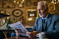 Elegant senior man reading newspaper in a cafe - ZEDF01178